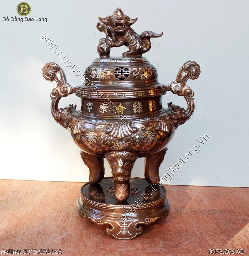 Đỉnh thờ khảm tam khí đúc bằng đồng tại xưởng đúc đồng ý yên