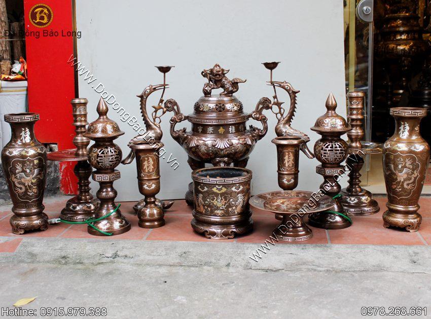 Đồ thờ bằng đồng khảm tam khí cao cấp nhất