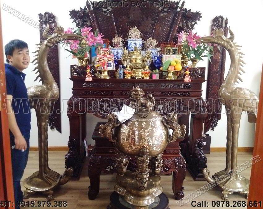 Hạc đồng đền chùa cỡ lớn cao 1m85